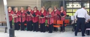 Singing at a community carols' concert, Amesbury School, December 2014